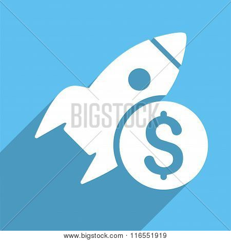 Business Startup Long Shadow Square Flat Icon