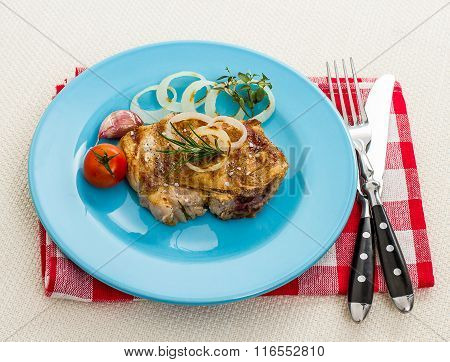 Juicy Pork Chop With Onion Rings
