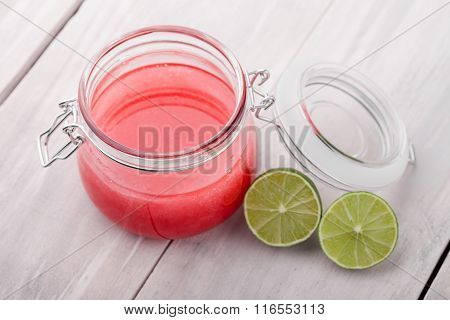 Natural diy lime sugar and salt body scrub