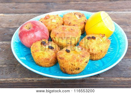 Carrot Cupcakes With Lemon And Apple, Nuts