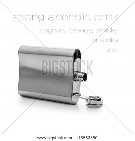 Open Hip Flask Bottle Of Lying Isolated