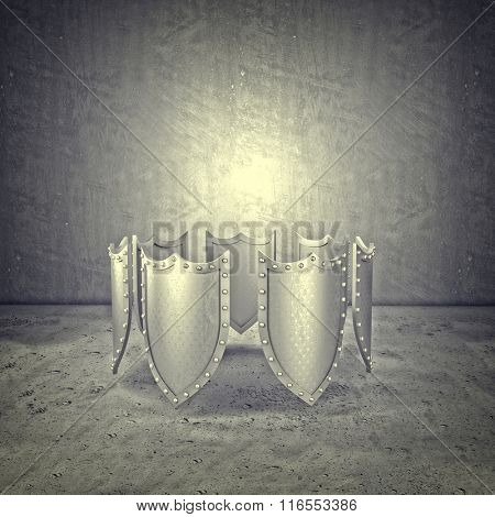 3d metal shield abstract background
