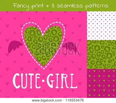 Fancy vector girlish set