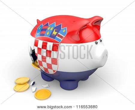 Croatia economy and finance concept for poverty and national debt