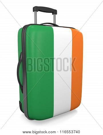Ireland vacation destination concept of a flag painted travel suitcase
