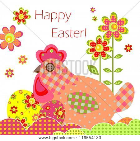 Greeting card with easter applique