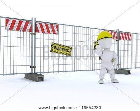 3D render of a man with construction barrier fence