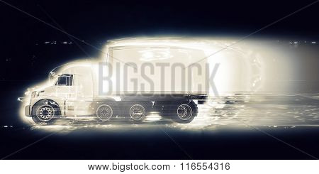 3D render of a generic truck with speed effect