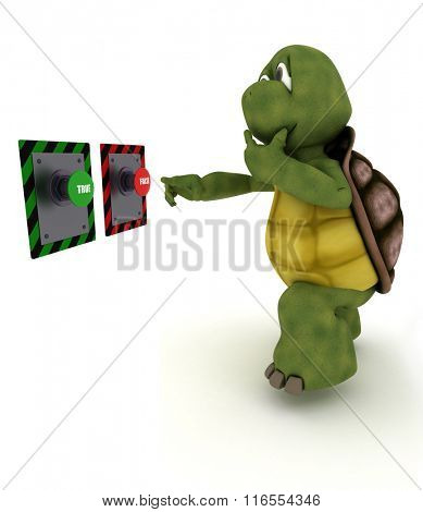3D Render of a Tortoise deciding which button to push