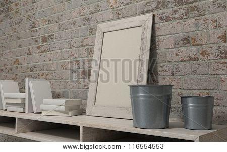 3d render of a white interior bookshelf