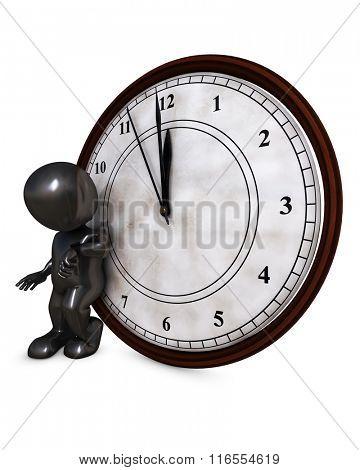 3D Render of Santa Morph Man with clock before midnight