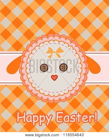 Napkin with dolly sheep for easter greeting