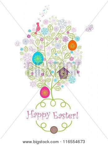 Beautiful easter greeting with blossoming tree