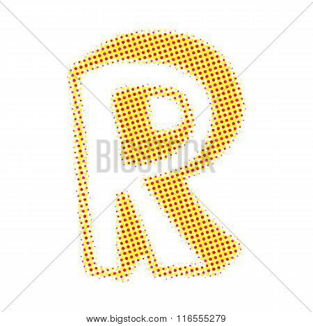 Letter R from points with shadows.