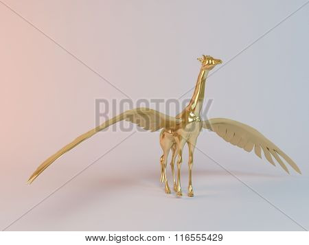 Golden 3D flying animal inside a stage with high render quality