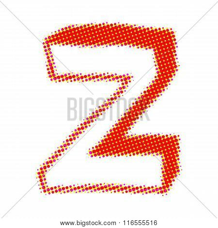 Letter Z from points with shadows.