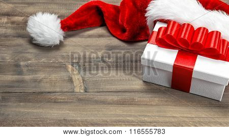 Christmas Decoration. Gift Box With Red Ribbon Bow