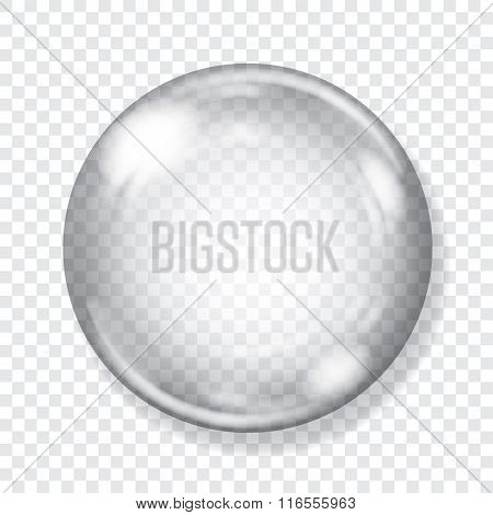 Big Transparent Glass Sphere. Transparency Only In Vector File