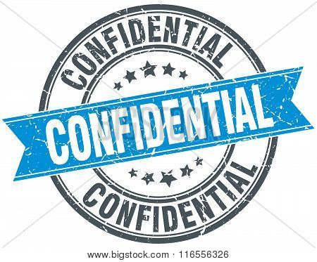confidential blue round grunge vintage ribbon stamp