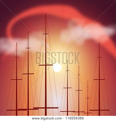 Tops Of Yacht Masts At Sunset