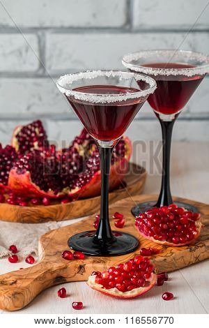 Pomegranate Cocktail  And Ripe Red Pomegranate