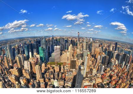 aerial view of the skyline of New York City through the fisheye lens in HDR