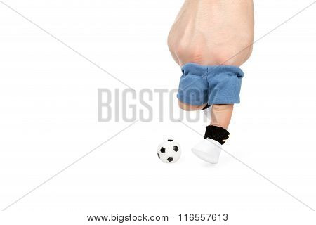 Imitation Of A Football With Your Fingers