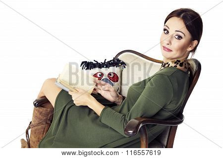 Woman Relaxes With A Book