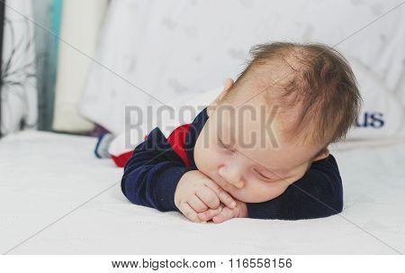 Newborn Baby Boy Two Months Old Sleeping