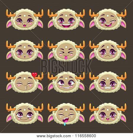 Funny cartoon beige girl monster emotions set
