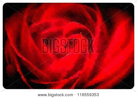 An abstract background. Hand-painted watercolor illustrations of red rose.