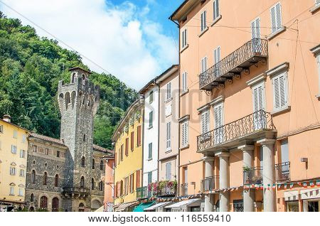 Porretta Terme, Bologna - Italy - colorful buildings and the Town Hall tower