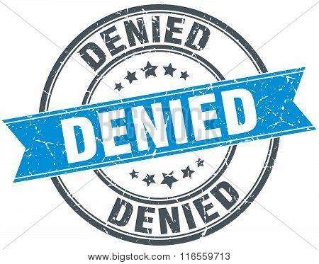 Denied Blue Round Grunge Vintage Ribbon Stamp