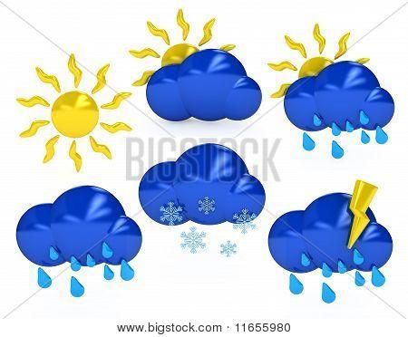 Weather Symbols Over White Background
