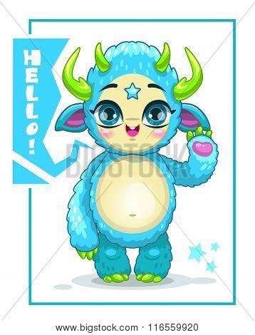 Cartoon cute blue monster