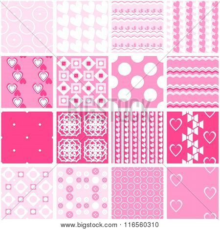 Cute pink vector seamless patterns. Endless texture