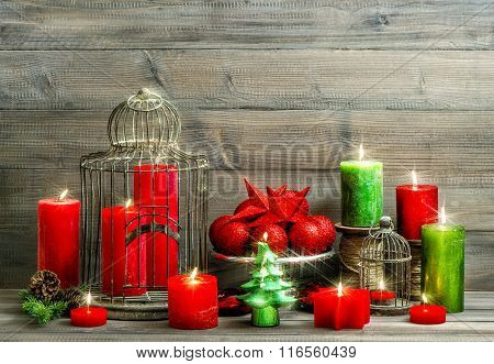 Christmas Decoration With Burning Candles. Vintage Home Interior