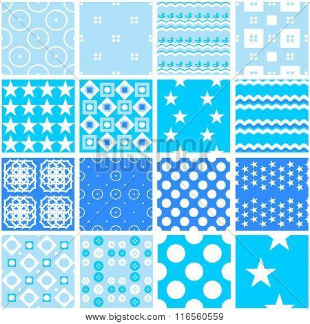 Cute blue vector seamless patterns. Endless texture