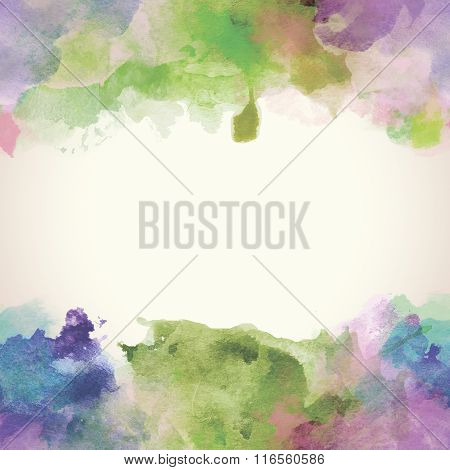 Spring Paper Watercolor Backdrop With Colorful Blobs And Place For Text.