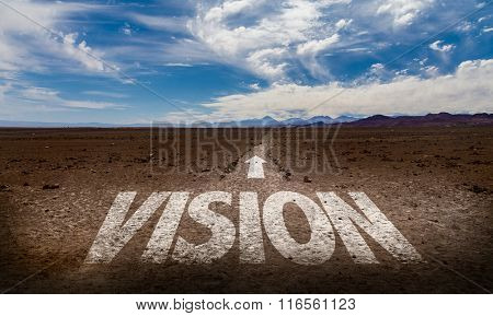 Vision written on desert road