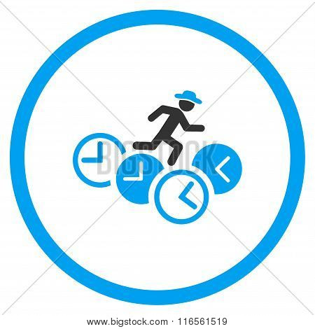 Person Running Over Clocks Rounded Icon