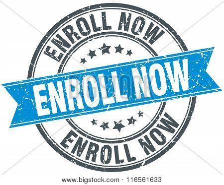 enroll now blue round grunge vintage ribbon stamp