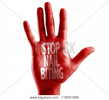 Stop Nail Biting written on hand isolated on white background