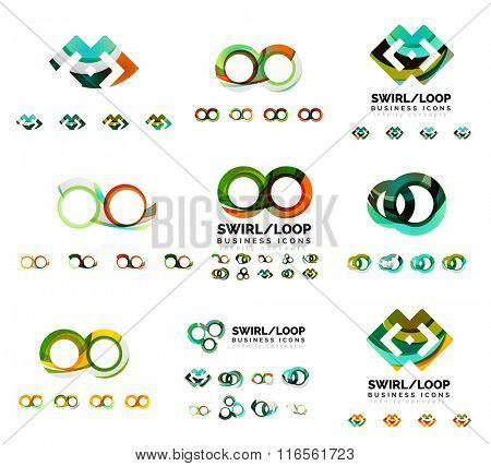 Set of company logotype branding designs, swirl infinity loop concept icons isolated on white