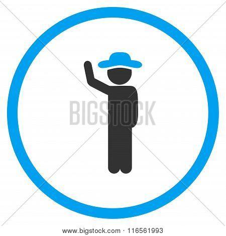 Human Hitchhike Circled Icon