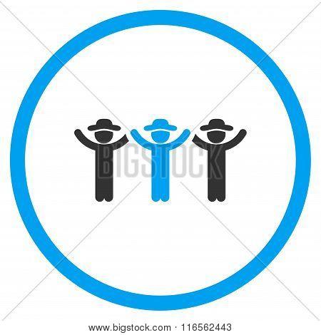 Boys Hands Up Roundelay Circled Flat Icon