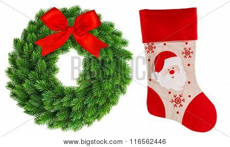 Christmas Wreath And Red Sock Isolated Stocking