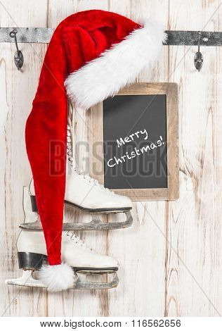 Red Hat And Chalkboard. Vintage Style Christmas Decoration