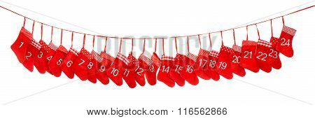 Advent Calendar. Red Christmas Socks. Holidays Decoration