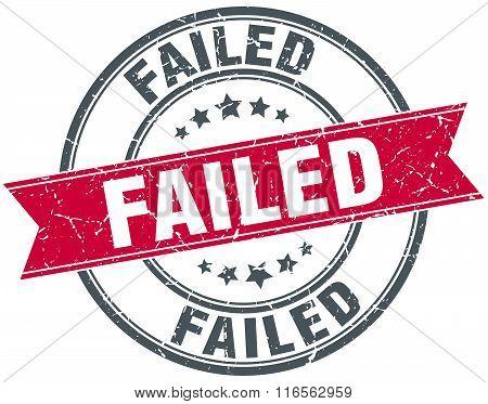 failed red round grunge vintage ribbon stamp